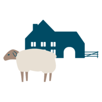 pictographie d'une brebis devant une ferme