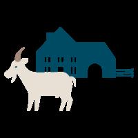 pictographie d'une chèvre devant une ferme