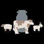 pictogramme d'un bidon de lait en arrière plan avec des vache chèvre et brebis
