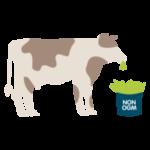 pictographie vaches en train de manger de l'herbe dans un seau avec écrit dessus sans OGM
