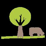 pictographie vache qui mange dans un champ à côté d'un arbre