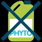 pictographie d'un bidon de produits phytosanitaires et d'engrais chimiques de synthèse avec une croix dessus